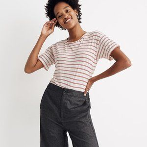 [NWT] Madewell Crewneck Cotton Tee in Red Stripe